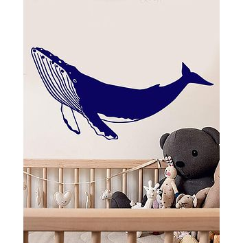 Vinyl Wall Decal Big Blue Whale Nautical Sea Animal For Nursery Stickers (2885ig)
