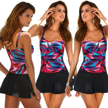 Multicolor Print Strappy Swimdress