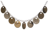Vintage brass tag charm necklace
