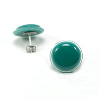 Cyber Monday - Emerald Green Stud Earrings 18mm - Emerald Stud Earrings - Green Earrings Studs -Surgical Stainless Steel Earring