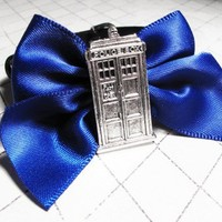 Police Box Blue Bow Bracelet, inspired by Doctor Who and the TARDIS