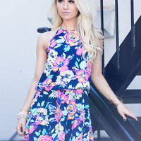 Call Me Anytime Navy Floral Dress