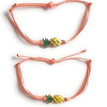 Pretty Pineapple Waxed String Bracelet, Choose from over 40+ Colors