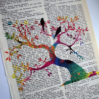 Tree of Life Print on Vintage  English to French Dictionary Page Art