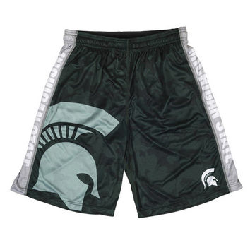 Michigan State Spartans Official NCAA Big Logo Camo Shorts
