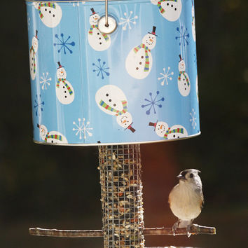 Bird feeder Garden outdoor patio backyard decor - Snowman one-of-a-kind bird-watcher gift - Gardener gift - Snow flake tin birdfeeder