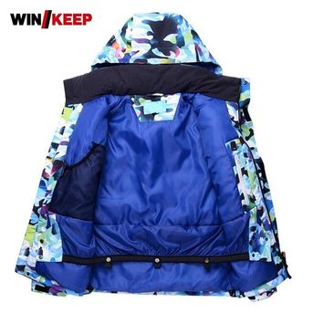 Colors Printed Men Winter Snowboard Skiing Jacket Thermal Hoody Windbreaker Overcoat Male Ski Jacket Snow Mountain Climbing Coat