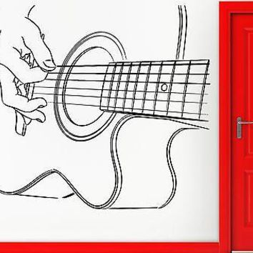 Wall Stickers Vinyl Decal Guitar Guitarist Rock Music Band Notes Decor Unique Gift (z2387)