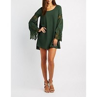 Lace-Trim Bell Sleeve Shift Dress | Charlotte Russe
