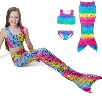 Spandex Girls Kids Mermaid Tail Girls Bathing Suit Children'S Clothing Swimming Accessories Swimwear Suit Cute Fashion
