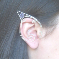 Silver Plated Handmade Wire Wrapped Elf Ear Cuffs With Lilac Purple Swarovski Elements, Wire Weave, Spiral, Elven Ears, LARP