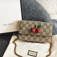 GUCCI Women's Trendy Cherry Clamshell Shoulder Bag Messenger Bag F