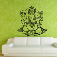 Wall decal art decor decals sticker elephant Ganesh Buddhism India Indian namaste Buddha OM Yoga success god lord (m90)