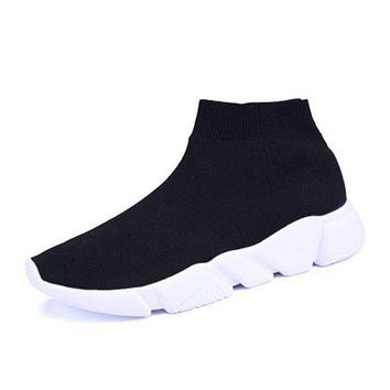 Women Boots Stretch Fabric Sock Boots High Top Knitted Sock Boot Wedges Shoes