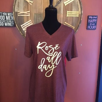 Rose All Day V-Neck Tshirt (Maroon) By KatyDid