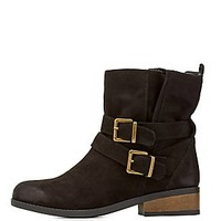 QUPID BELTED SLOUCHY ANKLE BOOTIES