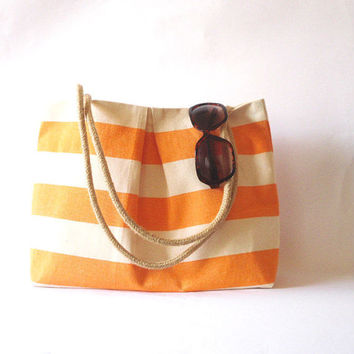Canvas Tote bag, Beach bag Orange and white stripes. Water resistent Rope handles