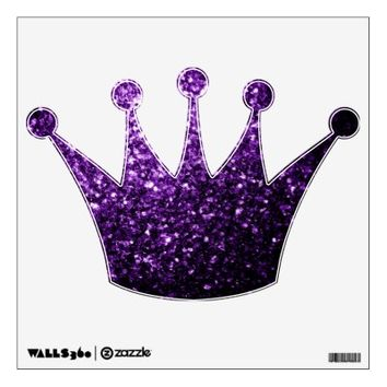 Beautiful Purple glitter sparkles Crown wall decal