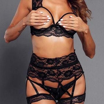 d07dade7a8 Sexy Black 3pcs Seductive Open Cup Lace Bralette Set