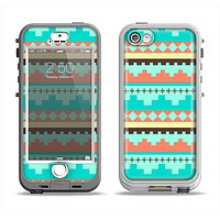 The Teal & Gold Tribal Ethic Geometric Pattern Apple iPhone 5-5s LifeProof Nuud Case Skin Set