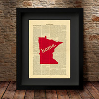 Minnesota, Minnesota State, Minnesota State Map, Art Print, Dictionary Print, Home Decor, Wall Decor, Print, Dictionary State Print -27MS