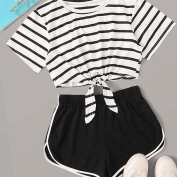 Striped Print Knot Hem Tee With Track Shorts