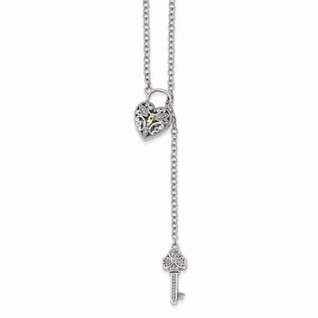 Sterling Silver w/14k Gold Diamond Heart Lock and Key Necklace