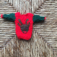 Reindeer Ornament, hand-knit mini sweater ornament with Santa's Reindeer applique, Xmas Tree Decor, Old fashioned xmas, Handmade Gift Topper