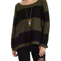 Olive Combo Slouchy Striped Scoop Neck Sweater by Charlotte Russe