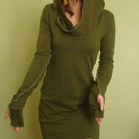 hooded tunic dress extra long sleeves w/thumb holes OLIVE GREEN