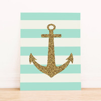 Gold Anchor with Mint Stripes PRINTABLE ART Dorm Decor Apartment Art Office Art Nautical Art