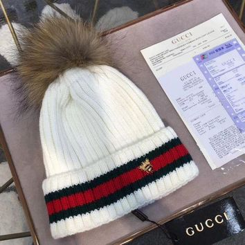 PEAPNQ2 GUCCI Fashion Bee Embroidery Beanies Knit Winter Hat Cap6