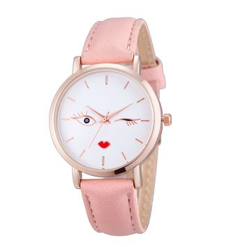 XINIU Blink Blink Smiling face Women Watch Genuine Leather Casual Quartz Watches Ladies Dress Watches Relogios Femininos