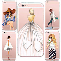 2016 Fashionable Genuine Sexy Lady Style Pattern Design Cases Cover For iphone 5 5s /6 6s Soft Clear Silicon Mobile Phone Shell