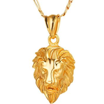 18K Gold Plated Big Lion Head Necklace Pendant