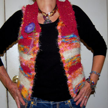 Tribal Style Gypsy Hippie Festival Felt Flower Wool Mohair Acrylic Colorful Knitted Vest with Crochet Collar