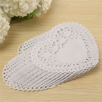 New 100pcs set 4 Inches Lace Paper White Heart shaped Lace Paper Doilies Out Pad for Home Paper Crafts Decoration 10.3x9.7cm