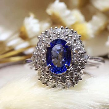 18K Gold 0.838ct Natural Sapphire Women Ring with 0.413ct Diamond Setting 2016 New Fine Jewelry Wedding Band Engagement