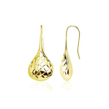 Yellow Gold Flashed Silver Diamond-Cut Pear Shape Lotus Polished Drop Earrings