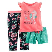 Baby Girl Carter's Graphic Top, Shorts & Pants Pajama Set