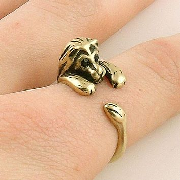 Animal Wrap Ring - Lion - Yellow Bronze - Adjustable Ring