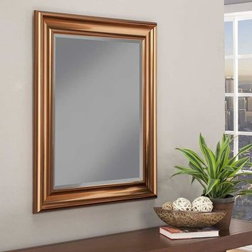 Polystyrene Framed Wall Mirror With Beveled Glass, Copper