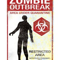 Zombie Outbreak Metal Sign – Spirit Halloween