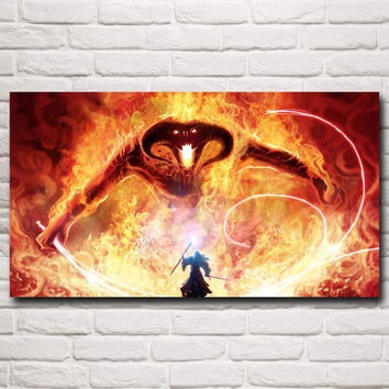 Gandalf The Lord of the Rings Balrog Fantasy Movie Art Silk Poster Home Wall Dec