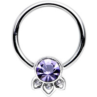"14 Gauge 1/2"" Purple Gem Elegant Delight Captive Bead Ring 