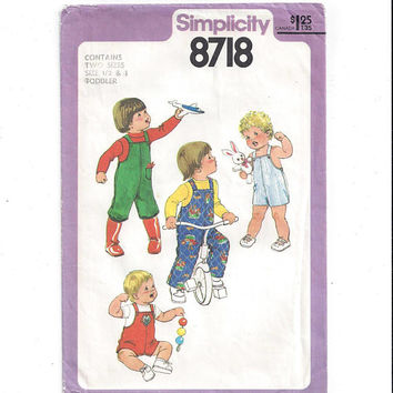 Simplicity 8718 Pattern for Toddlers' Overalls in 2 Lengths, From 1978, Size 1/2 & 1, Vintage Pattern, Home Sewing, 1978 Child Fashion Sew