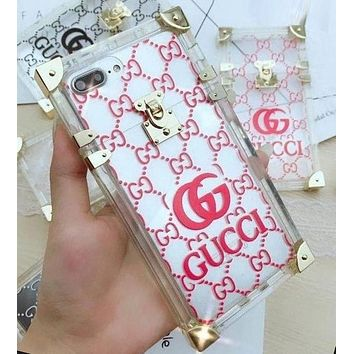 "Hot Sale ""GUCCI"" Popular Transparent Crystal Jelly iPhone Phone Cover Case For iphone 6 6s 6plus 6s-plus 7 7plus 8 8plus X Red I12270-1"
