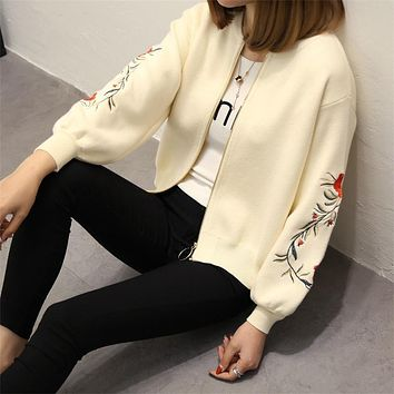 OHCLOTHING 2017 The new spring autumn Rose embroidery S/L size women embroidered sweater long sleeve zipper cardigan coat F1761