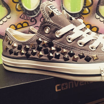 Custom Studded Grey Converse All Stars - Chuck Taylors ALL SIZES & COLORS!!!