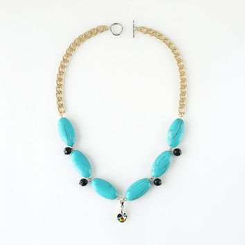 Mint Turquoise Statement Necklace, Green Sand Stone, Love Pendant, Matte Gold Curb Chain, Genuine Turquoise Jewelry